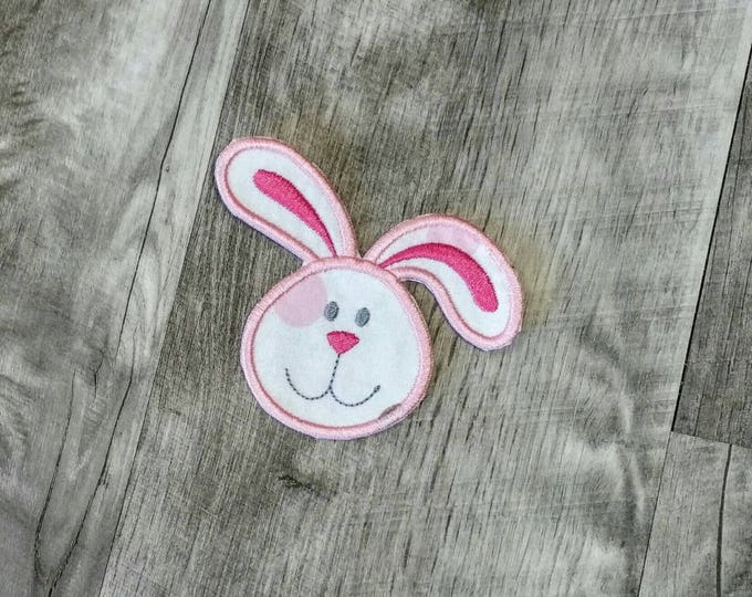 Bunny face trimmed in pink or teal iron on applique - iron t-shirt applique- ready to ship