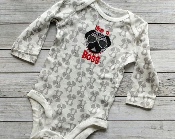 LIQUIDATION SALE Like a Boss baby bodysuite- gray and white- *** Ready to Ship***