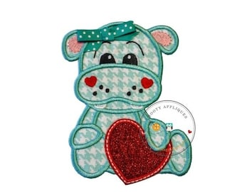 ON SALE Teal and white hound tooth pattern girl hippo with bow-valentine's day- holiday- iron on applique-ready to ship, embellishment,glitt
