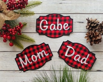 "ON SALE Personalized Christmas Stocking Iron on Name Tag- 4"" Buffalo plaid Holiday monogram applique"