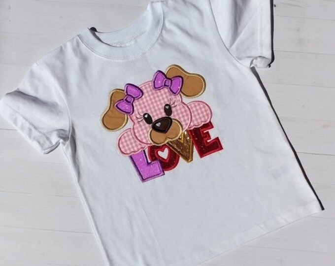 LIQUIDATION SALE Love with puppy-embroidered t shirt -Valentine's day tee for girl- tops for toddlers