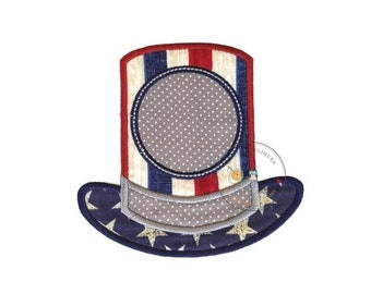LIQUIDATION SALE Monogrammed patriotic top hat iron-on appplique in red, white, and blue fabric, white stars on blue fabric brim, gray dots