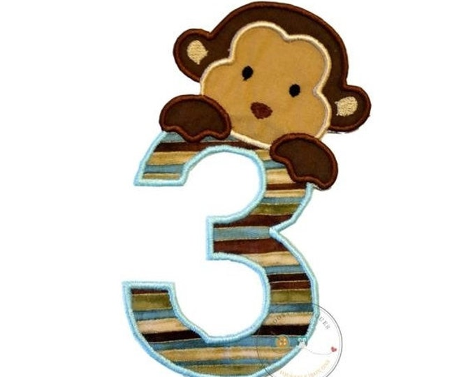 LIQUIDATION SALE Peek-a-boo monkey birthday number 3 iron on applique-light blue, brown and tan no sew machine embroidery patch-DIY boutique