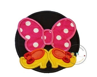 ON SALE pink bow and shoes circle iron on applique inspired iron on applique, iron on fabric patch with bow and shoes