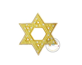 LIQUIDATION SALE Bright Yellow Star of David Holiday machine embroidered fabric iron on no sew patch, holiday patch for kids clothing