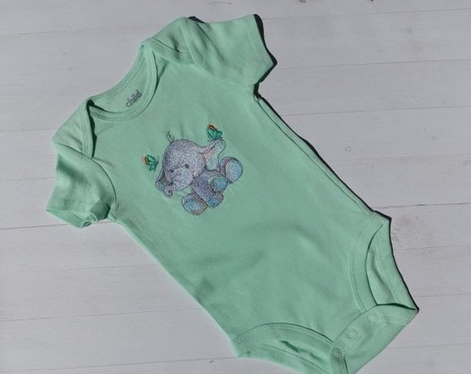 LIQUIDATION SALE Spring color embroidered body suites with sweet elephant- tee for boys and girls- tops for toddlers