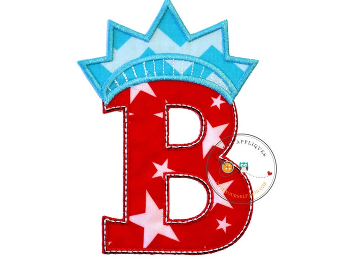 Star spangle inital letter B iron on applique, Patriotic monogram embroidered patch, Liberty letter B July 4th holiday monogram, 4th of july