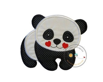 ON SALE Panda bear, zoo animal, black and white,personalizable, iron on, fabric applique, patch, embellishmentjunkies, ready to ship