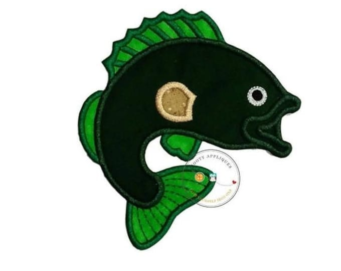 LIQUIDATION SALE Bass fish fabric iron on applique, green and lime green iron on fish patch, ships in 72hrs, ready to ship