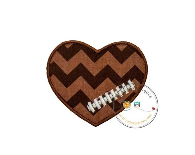 LIQUIDATION SALE Chevron football heart- iron embroidered fabric applique patch embellishment- ready to ship