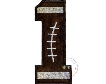 Football number one iron on applique-4x4 football number 1 machine embroidered fabric patch-DIY boutique fashions
