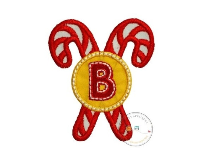 LIQUIDATION SALE Christmas candie cane initial B - iron embroidered fabric applique patch embellishment- ready to ship