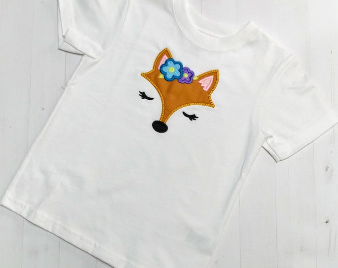 Beautiful spring fox face embroidered top for infants and toddlers