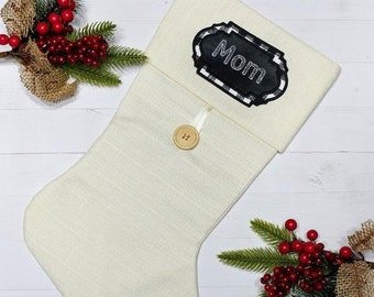 """LIQUIDATION SALE Personalized Christmas Stocking Name Patch-4.75"""" Black and white plaid applique ***Ships in 72 hours***"""