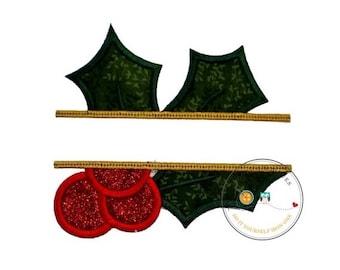 ON SALE Christmas mistletoe split iron on applique, Split mistletoe holiday iron on patch, embroidered glitter mistletoe iron on applique, p