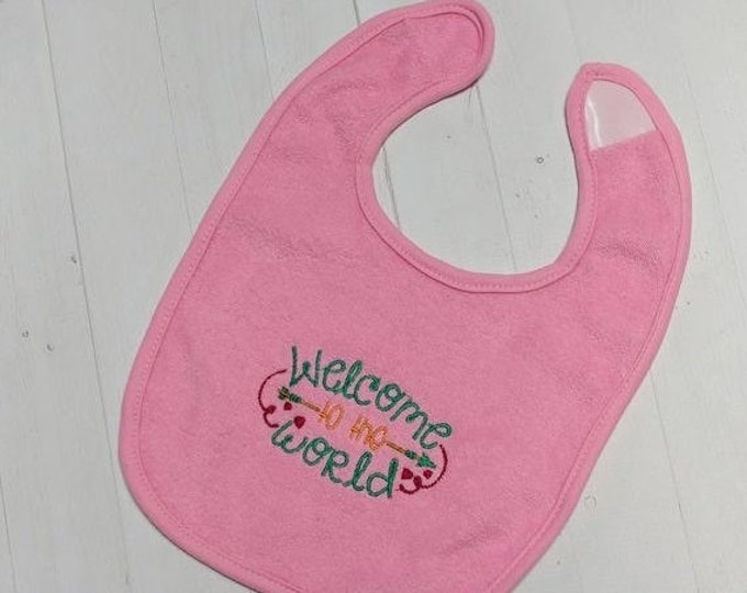 CLEARANCE Welcome into the World soft pink embroidered Koala Baby cloth baby bibs for 6-12 month old girls