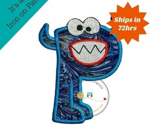 ON SALE Monster letter P applique, initial embroidered patch, bright iron on applique letter, iron on letter embellishment, iron on monogram