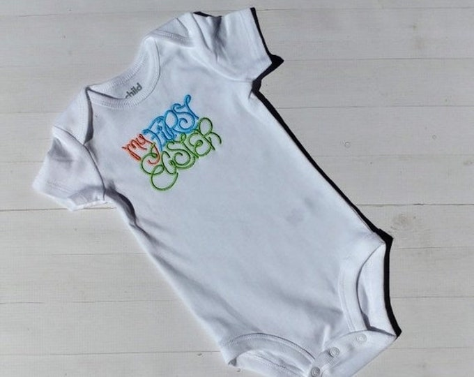 LIQUIDATION SALE My First Easter embroidered t shirt -tee for boy and girls- tops for toddlers