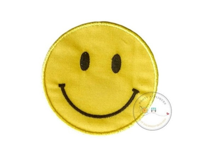 LIQUIDATION SALE Emoji smile face iron on applique, yellow smiley face no sew patch ready to ship