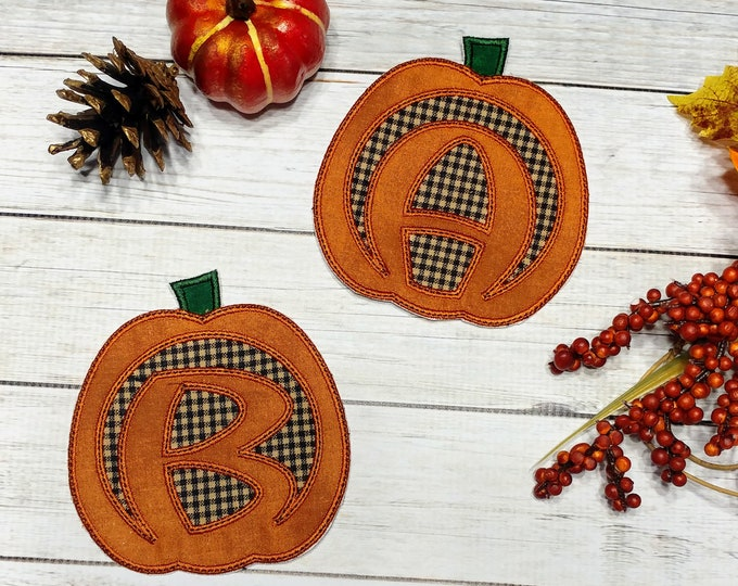 Carve pumpkin alphabet A-Z iron on patch- quick shipping- 4.5 inch fall theme motif ready to ship embroidered applique