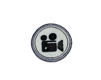 ON SALE Movie Camera Merit badge- 2 inch iron on patch- ***Ships in 72 Hours***