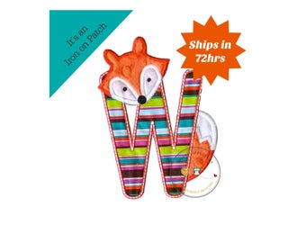 Woodland fox letter W machine embroidered iron on no sew patch, fox embroidered monogram letter w, ready to ship