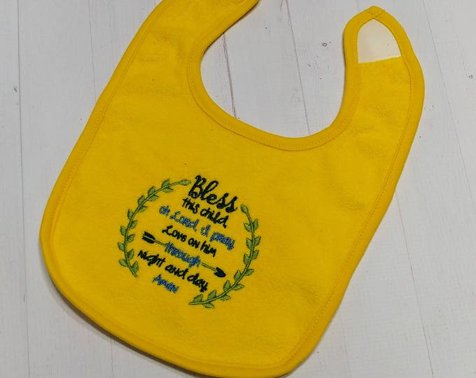 Bless this child oh Lord I pray yellow embroidered Koala Baby cloth baby bibs for 6-12 month old girls and boys