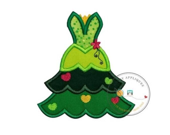 LIQUIDATION SALE frog princess iron on Christmas tree fabric applique, Machine embroidered no sew frog princess Christmas holiday patch, rea