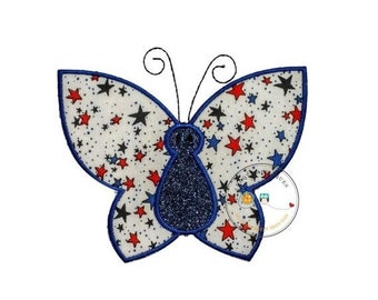ON SALE 4th of July butterfly iron on applique patch