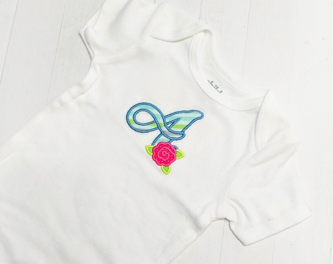 Spring cursive monogram letters with rose embroidered top for infants and toddlers