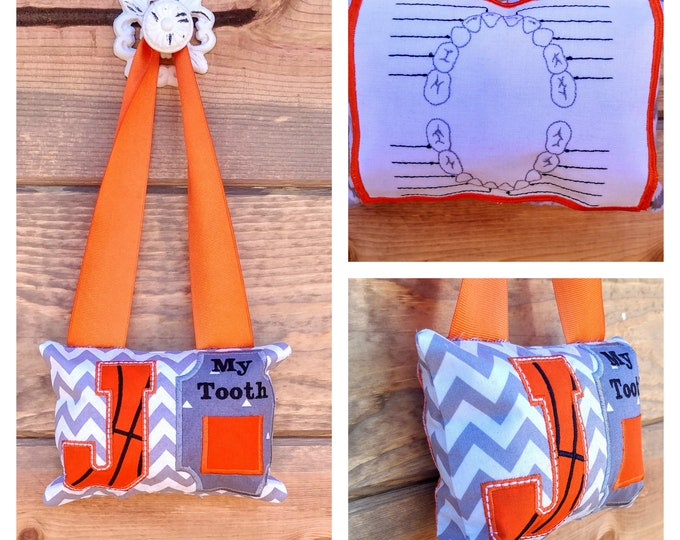 Basketball Letter tooth fairy pocket pillow, Gift for boys- Basketball initial