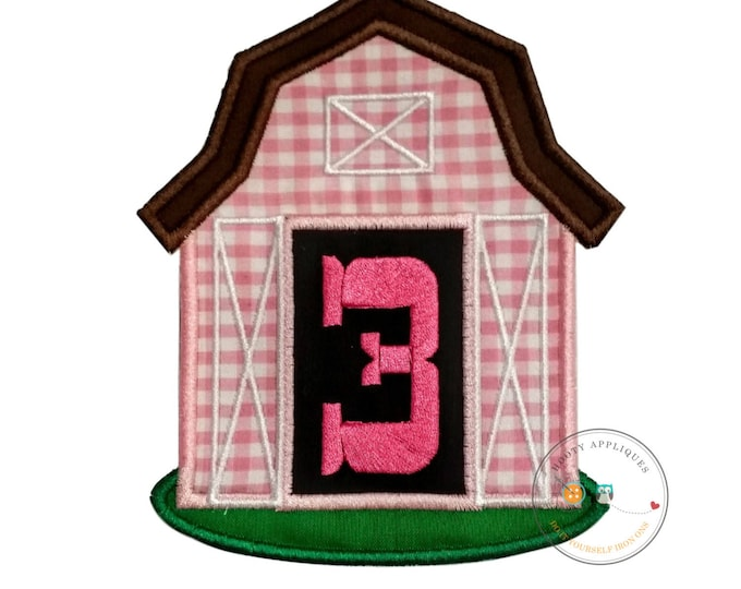 Pink barn birthday number three iron on applique, Farm yard birthday number 3 embroidered patch, country 7th birthday iron on, ready to ship
