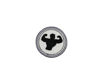 LIQUIDATION SALE Bodybuilding Merit badge- 2 inch iron on patch- ***Ships in 72 Hours***