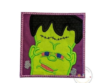 On Sale NOW Frankinstien in a square fram iron on applique- no sew machine embroidered Halloween patch-DIY boutique fashions- ready to ship