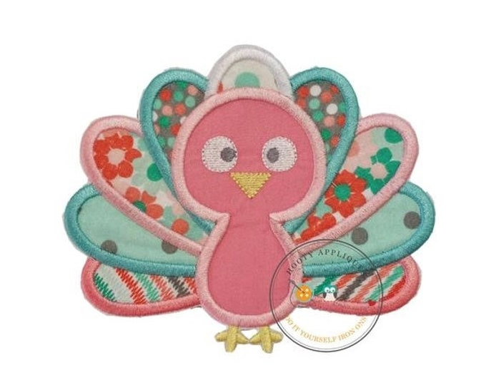 LIQUIDATION SALE Charming pastel baby turkey embroidered fabric iron on applique - Thanksgiving turkey iron on applique for girls or baby -