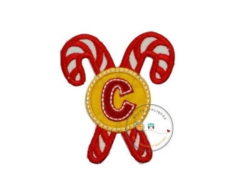 ON SALE Christmas candy cane initial letter C- iron embroidered fabric applique patch embellishment- ready to ship