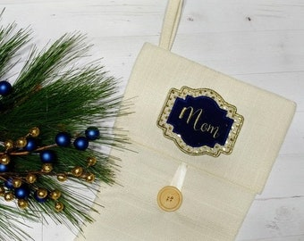 """LIQUIDATION SALE Personalized Christmas Stocking Iron on Name Tag- 4"""" Blue and Gold Holiday monogram applique"""