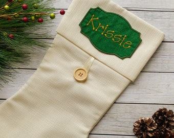 "Personalized Christmas Stocking Iron on Name Tag- 4"" Green and Gold Holiday monogram applique"