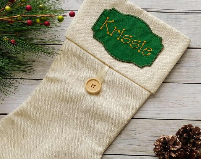 """Personalized Christmas Stocking Iron on Name Tag- 4"""" Green and Gold Holiday monogram applique"""