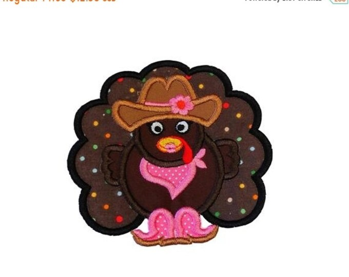 Western Cowgirl turkey fabric iron on applique-