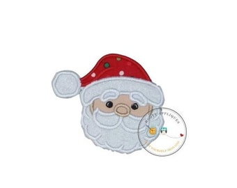 LIQUIDATION SALE Jolly Saint Nick face machine embroidered fabric iron on no sew patch, ready to ship holiday patch for kids clothing