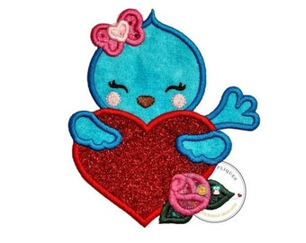 ON SALE Sweet blue bird iron on patch, Valentine's day embroidery patch, Glitter heart iron on applique, Personalized embroidered iron on pa