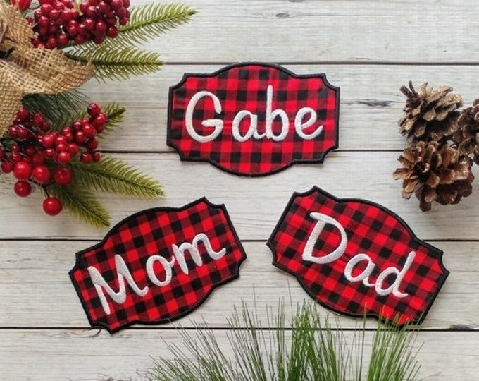 "LIQUIDATION SALE Personalized Christmas Stocking Iron on Name Tag- 4"" Buffalo plaid Holiday monogram applique"