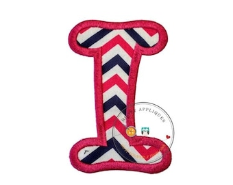 LIQUIDATION SALE Chunky curls letter I iron on applique, Girls nautical monogram, iron on initial I, Blue and pink monogram letter I, Ready