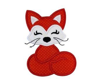 Orange fox fabric iron on applique-