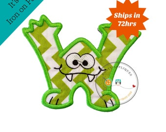 Monster letter W applique, initial embroidered patch, bright iron on applique letter, iron on letter embellishment, iron on monogram patch
