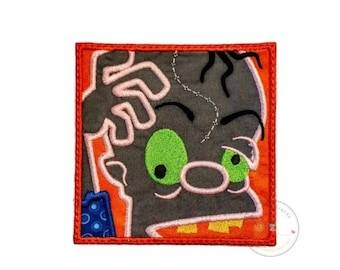 ON SALE Zombie in a block iron on applique- no sew machine embroidered Halloween patch- Crazy undead-DIY boutique fashions- ready to ship