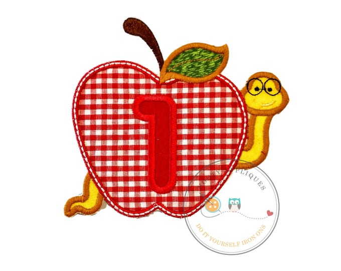Large number one gingham apple with bookworm  - Iron embroidered fabric applique patch