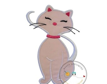 LIQUIDATION SALE Soft pink cat embroidered fabric iron on applique- Ready to ship-Premade-DIY