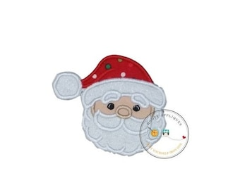 On Sale NOW Jolly Saint Nick face machine embroidered fabric iron on no sew patch, ready to ship holiday patch for kids clothing